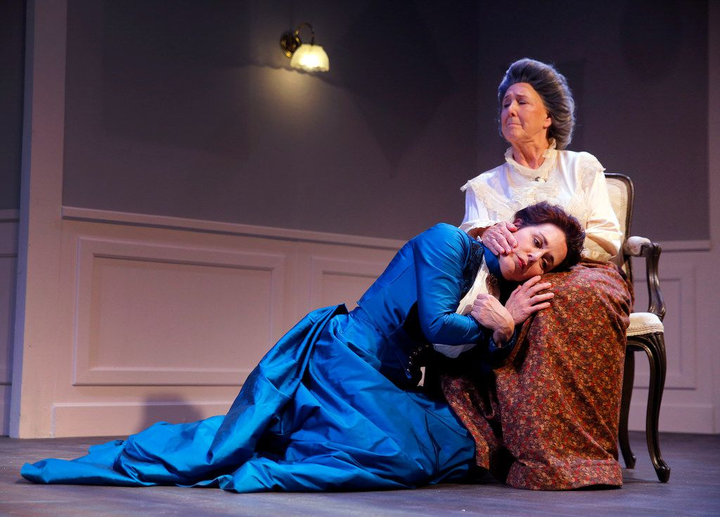 Shannon J. McGrann playing Nora (left) and Judy Keith playing Anne Marie in the regional premiere of A Doll's House, Part 2 at Stage West in Fort Worth.