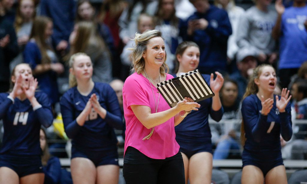 Flower Mound head coach Jamie Siegel cheers on her team during a Class 6A state semifinal volleyball game against O'Connor at the Curtis Culwell Center in Garland, Friday, November 16, 2018. (Brandon Wade/Special Contributor)