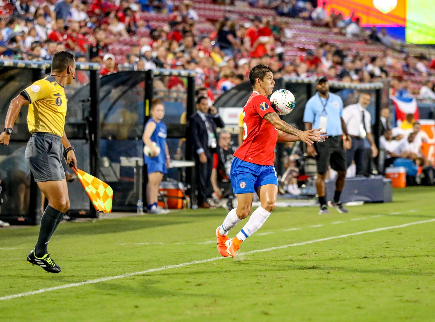 Cristian Gamboa of Costa Rica chest traps the ball in the 2019 Gold Cup at Toyota Stadium. (6-20-19)