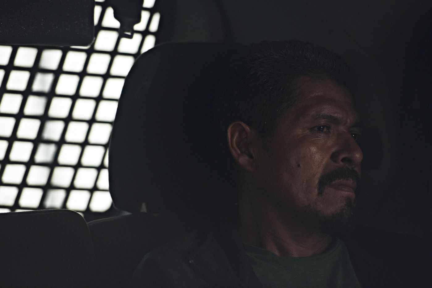 Anselmo Morán Lucero, an undocumented immigrant who has been in the U.S. for 30 years, in an Immigration and Customs Enforcement vehicle after being arrested in Riverside, Calif., June 22, 2017.