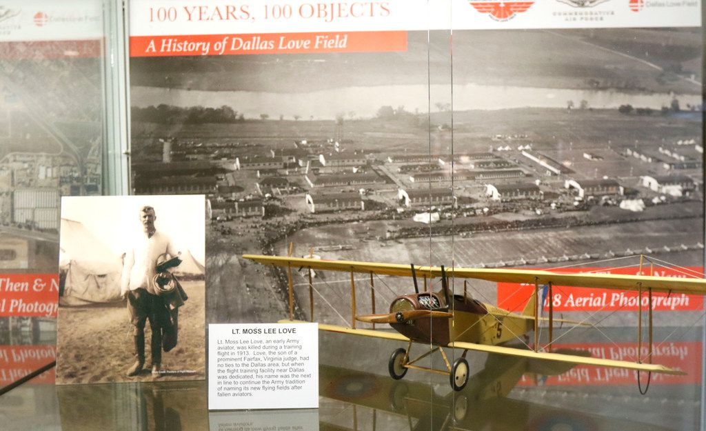 This is one of many exhibits on display at Dallas Love Field for the airport's 100th anniversary. Opened in  1917 as a military base, it since has since become a major economic engine for the city of Dallas despite several attempts to close it.