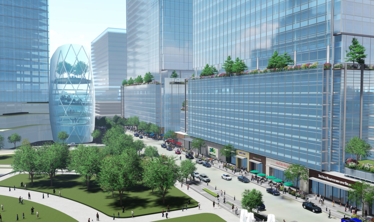 A large park would have connected the Amazon buildings to City Hall.