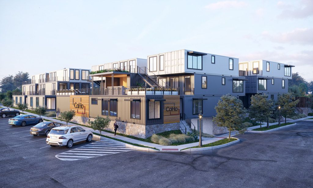 A 34-unit apartment project south of downtown Fort Worth is being constructed out of 76 steel shipping containers.