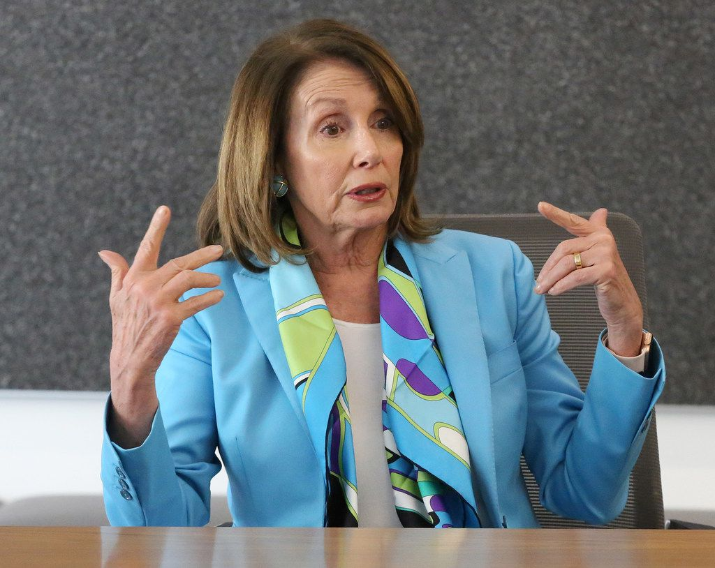 US House Minority Leader Nancy Pelosi meets with The Dallas Morning News' editorial board to discuss the Democrats' plan called the Better Deal on Friday, May 11, 2018 at the Dallas Morning News offices in Dallas.  (Louis DeLuca/The Dallas Morning News)