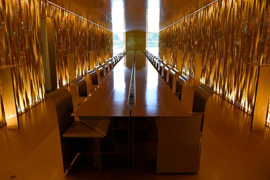 "A picture taken in Olot on March 2, 2017 shows a dinning room of the restaurant ""les Cols"" designed by RCR architects, formed by Spanish architects, Rafael Aranda, Carme Pigem and Ramon Vialta."