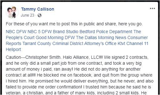 The first part of a Bedford woman's Facebook post about her dispute with her ex-contractor. The post brought results.