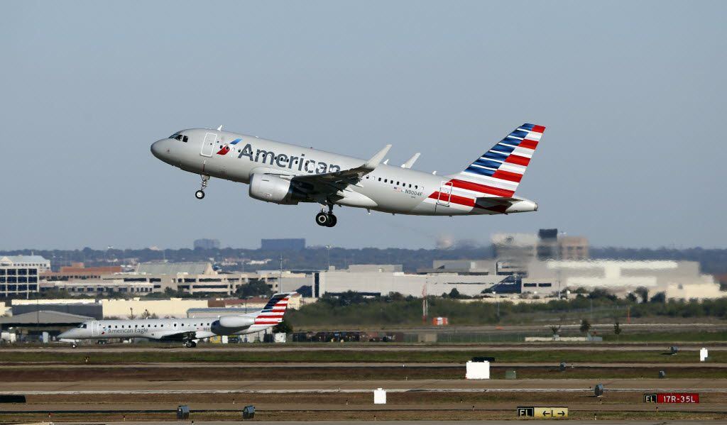 American Airlines plane taking off at Dallas/Fort Worth International Airport on November 12, 2013. A settlement has been reached in the American Airlines and U.S. Airways case with the U.S. Department of Justice.  (Vernon Bryant/The Dallas Morning News) 01132015xBIZ