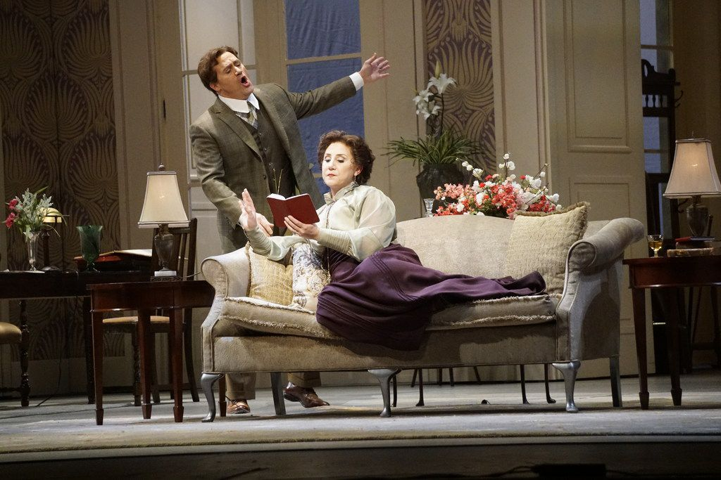 Paul Groves as Wilhelm Arndt and Laura Wilde and Laura Arndt in the Dallas Opera dress rehearsal of Erich Wolfgang Korngold's The Ring of Polykrates at the Winspear Opera House in Dallas, Texas on Tuesday, Feb. 6, 2018.