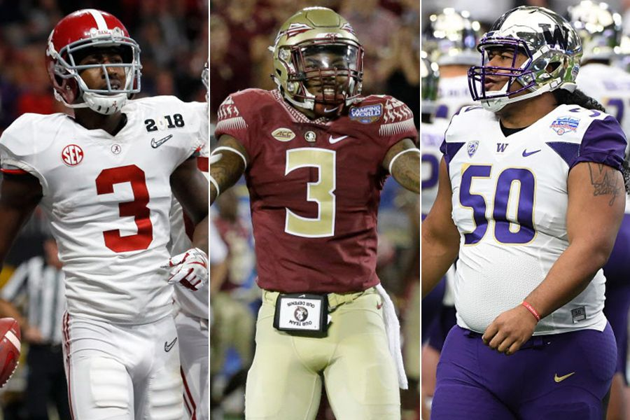 Pictured, left to right: Alabama's Calvin Ridley, Florida State's Derwin James and Washington's Vita Vea.