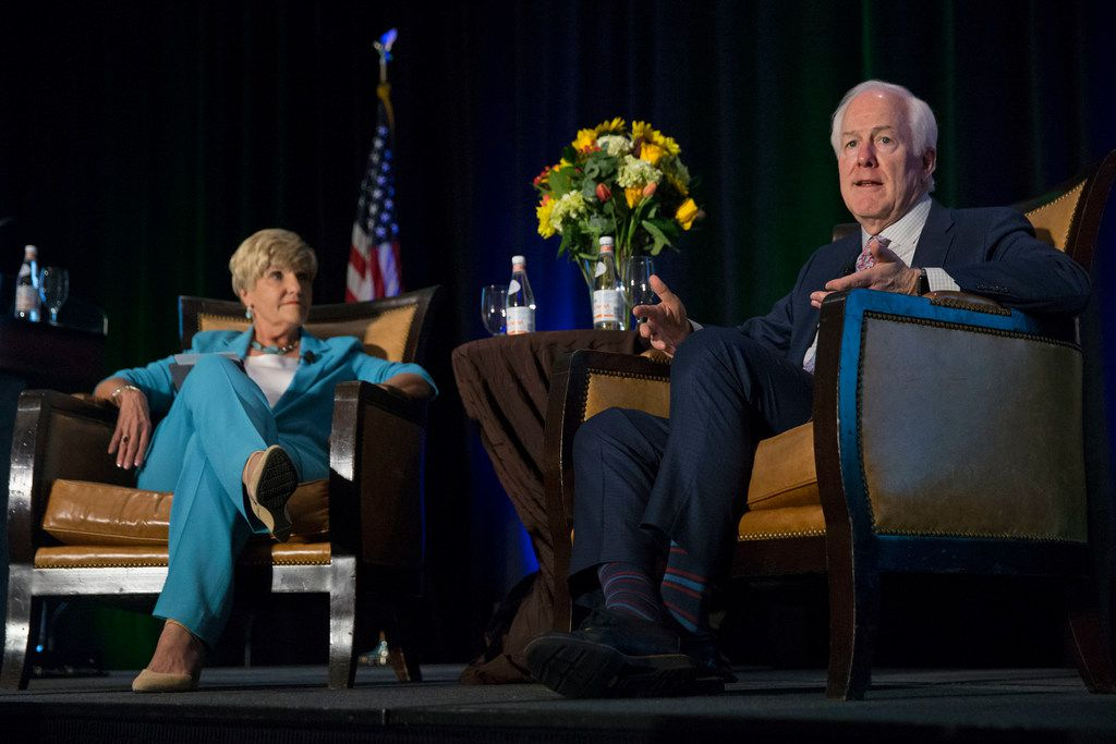 U.S. Sen. John Cornyn, R-Texas, shown with Fort Worth Mayor Betsy Price at Fort Worth's Omni Hotel on Friday, says new means of funding highways are needed.