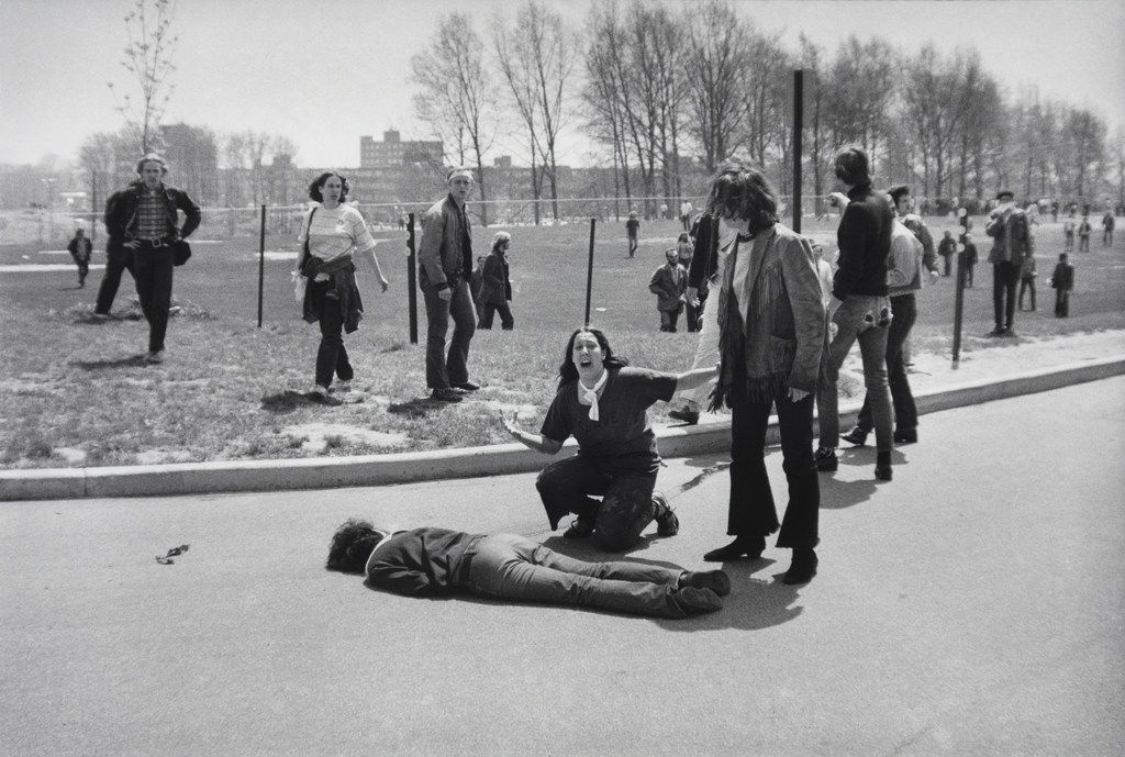 Mary Ann Vecchio kneels over the body of fellow student Jeffrey Miller, who was killed by Ohio National Guard troops during an anti-war demonstration at Kent State University in Ohio on May 4, 1970.