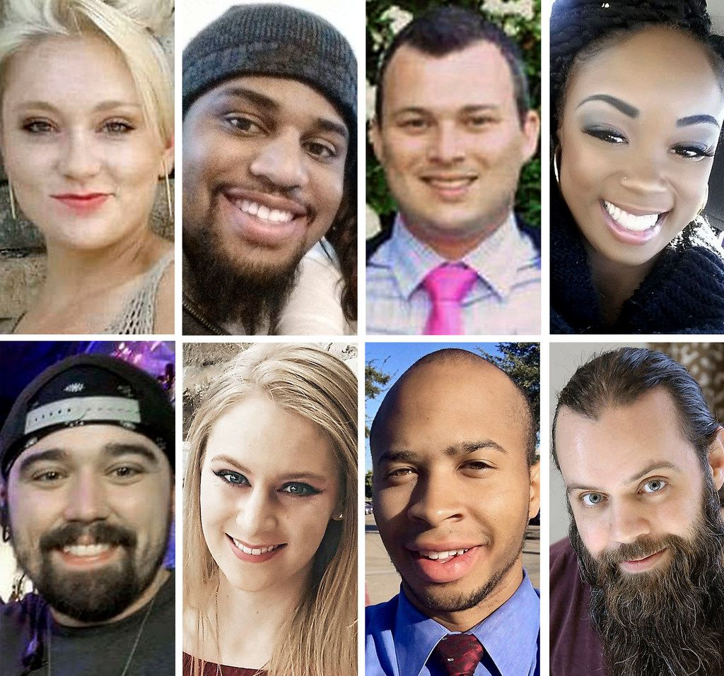 """(Top row, from left) Meredith Hight, 27; Rion Morgan, 31; James Dunlop, 29; and Myah Bass, 28. (Bottom row, from left) Caleb Edwards, 25; Olivia Deffner, 24; Darryl William Hawkins, 22; and Anthony """"Tony"""" Cross, 33. Police say Spencer Hight burst into Meredith's cookout in Plano on Sept. 10, 2017, fatally shooting her and seven others."""