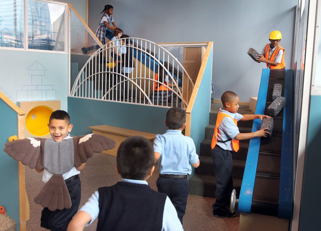 A skyline-themed play structure is part of the fun at the Perot Museum of Nature & Science.