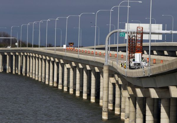 The Bush Turnpike's eastern extension, set to open Wednesday, crosses part of Lake Ray Hubbard just north of its intersection with Interstate 30.