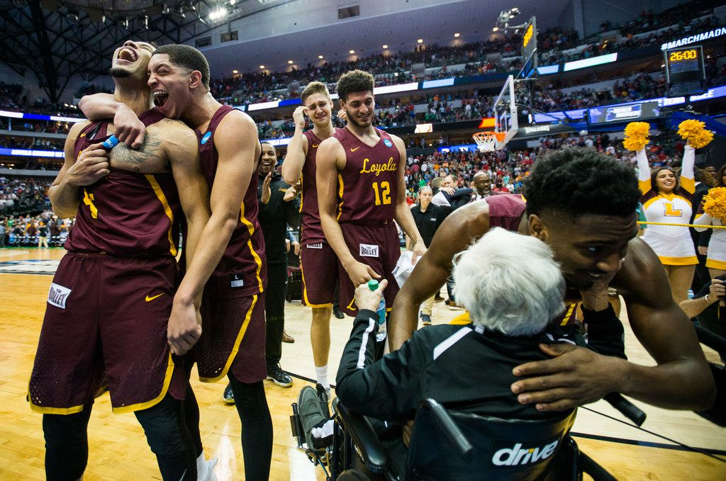 The Loyola Ramblers celebrate a 63-62 win against Tennessee in the second round of the NCAA Tournament on Saturday, March 17, 2018, at American Airlines Center in Dallas. (Ashley Landis/Dallas Morning News/TNS)