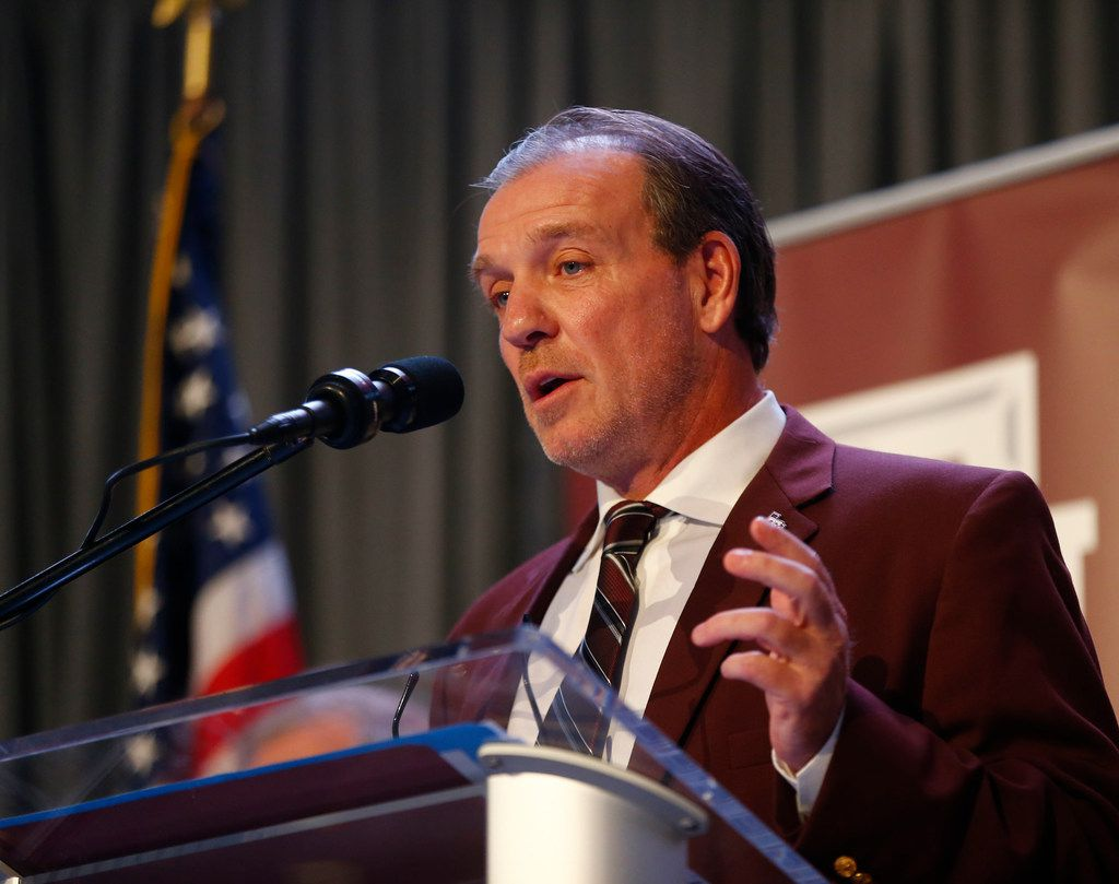 Texas A&M's new coach Jimbo Fisher gives a speech during a press conference at Kyle Field in College Station, Texas on Dec. 4, 2017.  (Nathan Hunsinger/The Dallas Morning News)