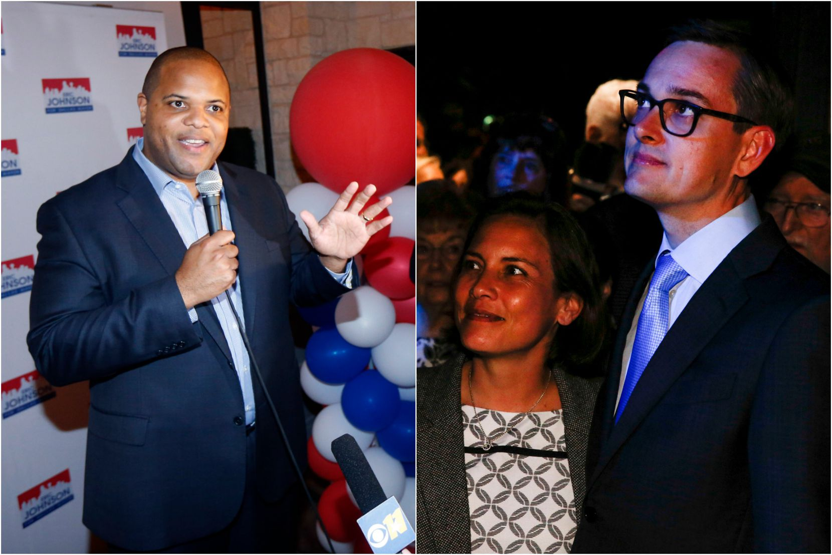 Rep. Eric Johnson, D-Dallas (left), and City Council member Scott Griggs, pictured with his wife, will face each other in a June 8 runoff for Dallas mayor. (Left photo: Tom Fox/Staff Photographer; right photo: Brian Elledge/Staff Photographer)