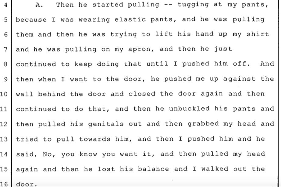 Excerpt from B.C.'s deposition to Steak 'n Shake attorney Christopher Kurzner, dated Jan. 17, 2013.