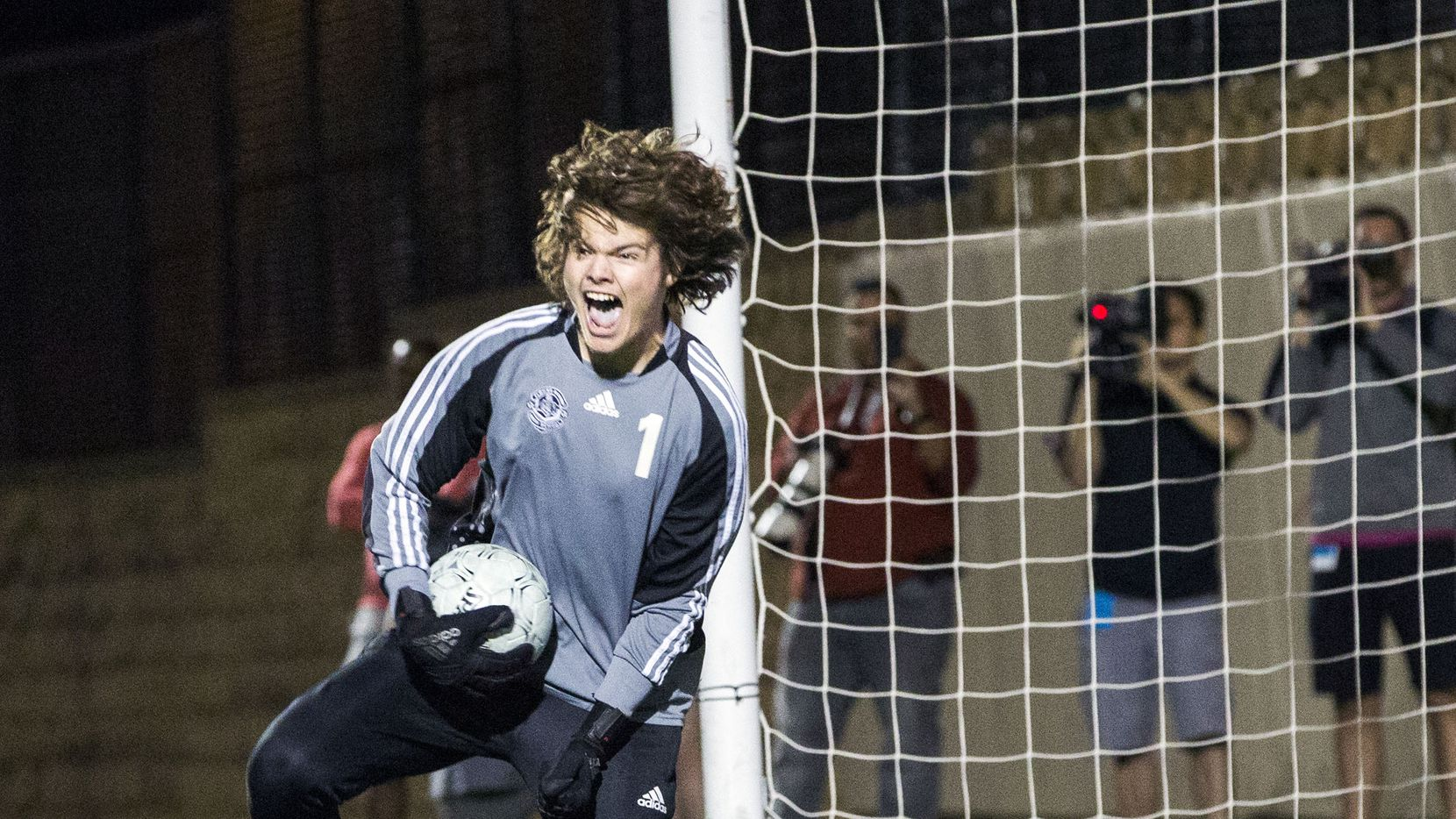 Lewisville Flower Mound goalkeeper Landon Leach (1) celebrates after stopping the ball in the shootout during theUIL conference 6A boys state finalsoccergame between Lewisville Flower Mound and San Antonio LEE at Birkelbach Field in Georgetown, Texas on Saturday, April 20, 2019. Lewisville Flower Mound beat San Antonio LEE 1 to 0.