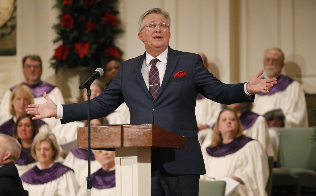 Senior pastor George Mason addresses the congregation during worship services Sunday at Wilshire Baptist Church in Dallas.