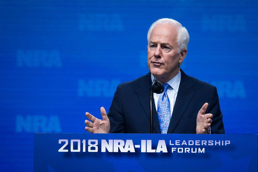 Texas Sen. John Cornyn addresses the NRA-ILA Leadership Forum at the Kay Bailey Hutchison Convention Center.