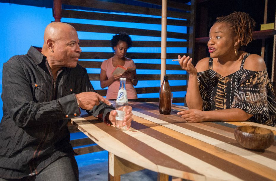 From left: Tyrees Allen as Christian, Whitney LaTrice Coulter as Sophie and Denise Lee as Mama Nadi star in Ruined  at the Bath House Cultural Center in Dallas.