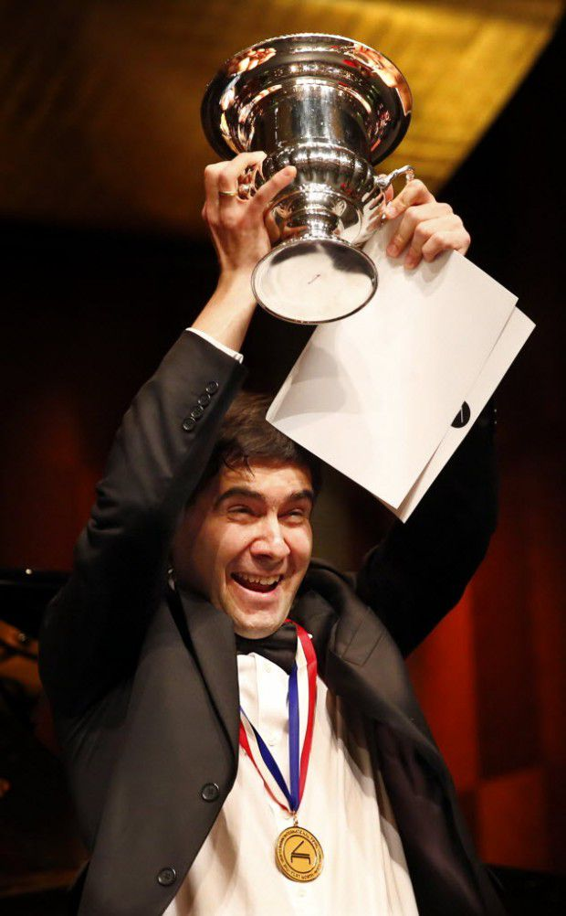 Vadym Kholodenko in 2013 after winning the Van Cliburn International Piano Competition at Bass Performance Hall in Fort Worth.