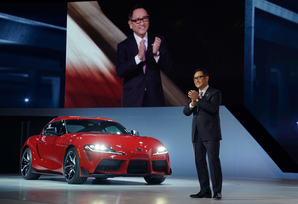 Toyota President Akio Toyoda unveils the 2020 Toyota Supra at the 2019  North American International Auto Show on Monday in Detroit.