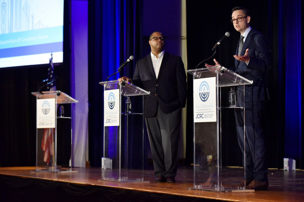 Dallas Mayoral candidates Eric Johnson, left, and Scott Griggs participated in a mayoral runoff forum hosted by the Jewish Community Relations Council of the Jewish Federation of Greater Dallas on May 23 at the Aaron Family Jewish Community Center in Dallas. (Ben Torres/Special Contributor)