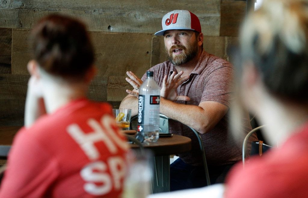Owner Elias Pope talks with the staff during a training session at HG Sply Co. in Trophy Club, Texas on Thursday, August 15, 2019. (Vernon Bryant/The Dallas Morning News)