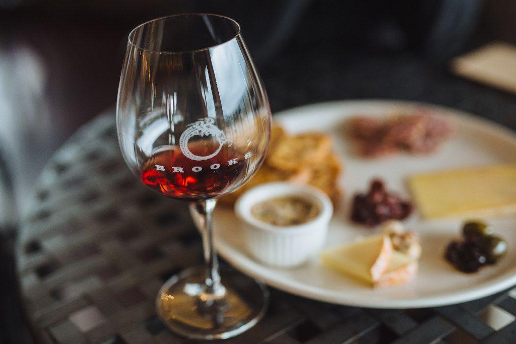 A glass of Brooks Wine pinot noir