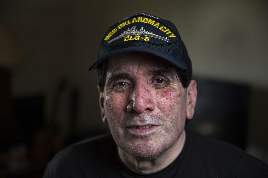 Navy veteran Eddie Aguilar, 64, at his home in San Antonio.
