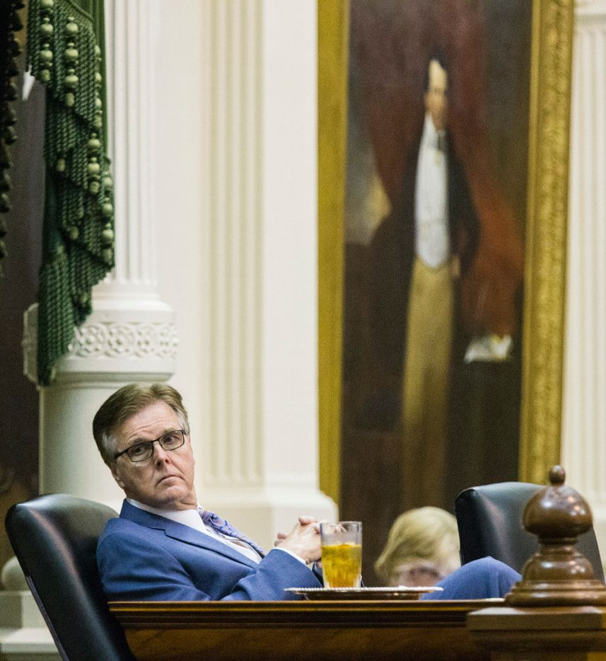 Lt. Governor Dan Patrick leans back in his chair during a midnight session during the third day of a special legislative session on Thursday, July 20, 2017 at the Texas state capitol in Austin, Texas. The midnight session was called to read and pass the Sunset Bill.