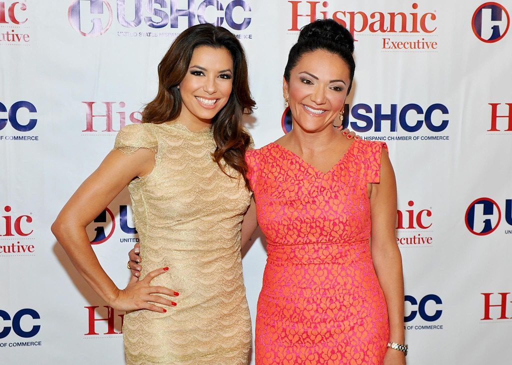Actress Eva Longoria and Nina Vaca at the kickoff reception for the United States Hispanic Chamber of Commerce National Conference in 2013.
