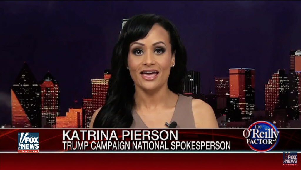 Katrina Pierson, national spokeswoman for the Donald Trump campaign, speaks during a televised interview with Eric Bolling, the O'Reilly Factor show guest host, on FOX News.