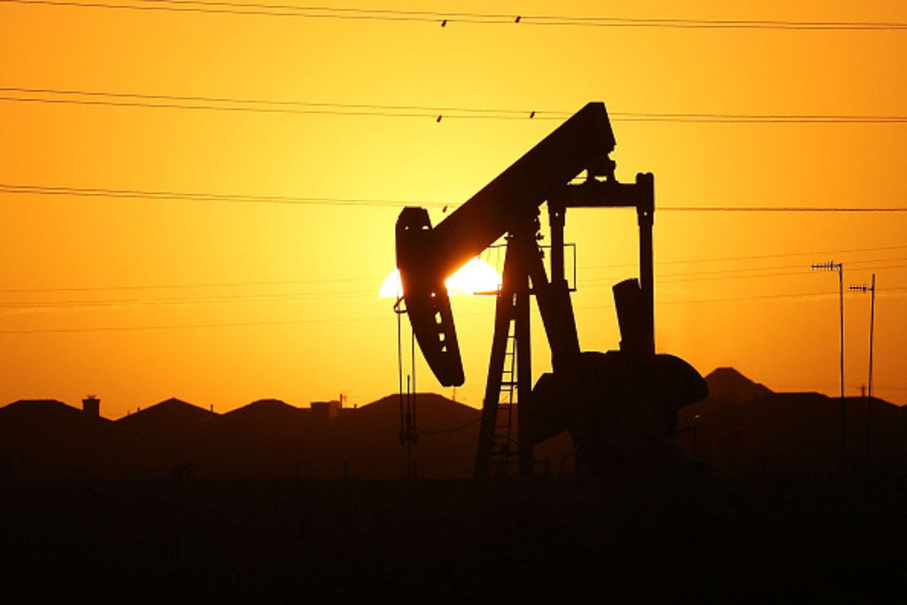A file photo shows a pumpjack on the outskirts of a Permian Basin oil field near the oil town of Midland, Texas. (Photo by Spencer Platt/Getty Images)