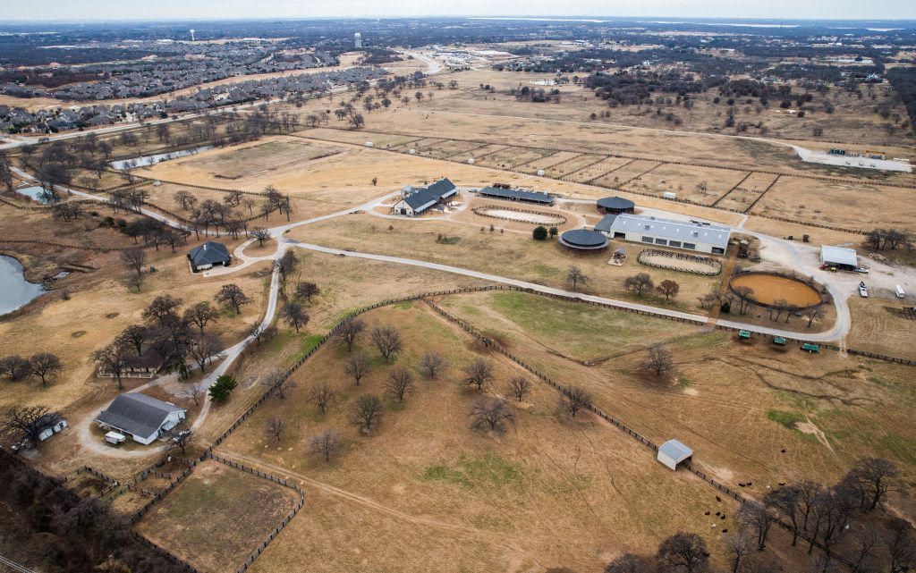 A ranch owned by former Exxon Mobil CEO Rex Tillerson as photographed from a helicopter on Wednesday, January 4, 2017 in Bartonville, Texas.