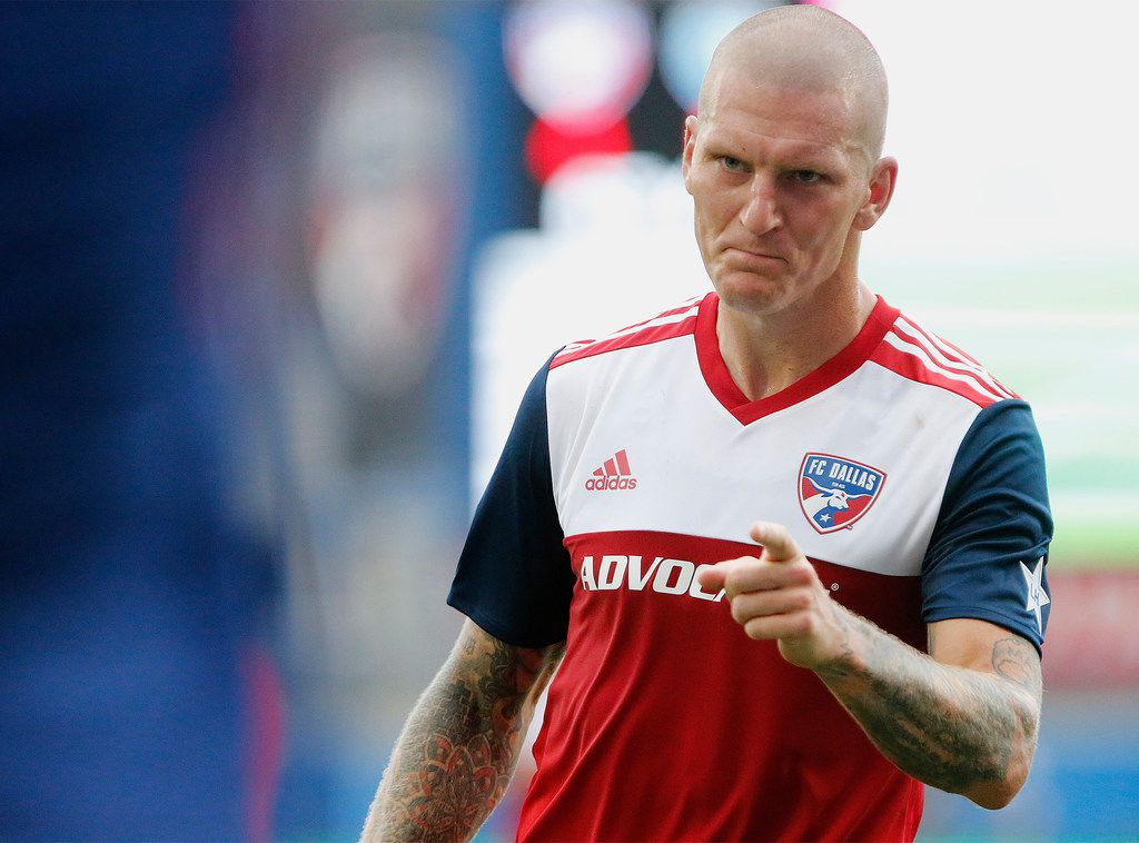 After scoring his second goal of the game, FC Dallas forward Zdenek Ondrasek (13) looks for FC Dallas defender Reggie Cannon (2) during the second half as FC Dallas hosted Sporting Kansas City in a soccer match played at Toyota Stadium in Frisco on Sunday, October 6, 2019. (Stewart F. House/Special Contributor)