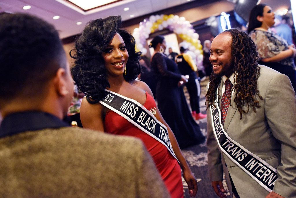 Nyla Foster (left), 30, of Kansas City, Mo., and Nickolai Mufasa, 29, of Chicago, met with people at the start of the eighth annual Black Trans Advocacy Conference and awards gala at the Wyndham Suites Hotel in Dallas on April 26. Foster and Mufasa are both Miss and Mr Black Trans International 2019.