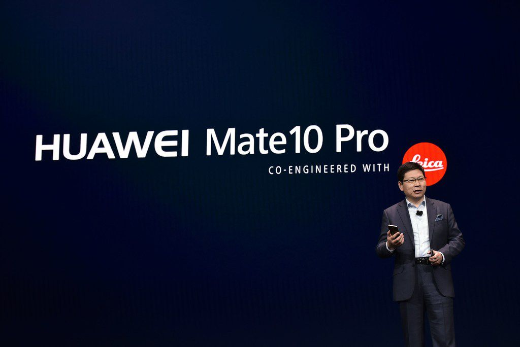 Huawei CEO  Richard Yu speaks about the Mate 10 Pro phone during a keynote address during CES 2018 in Las Vegas on January 9, 2018. / AFP PHOTO / MANDEL NGANMANDEL NGAN/AFP/Getty Images