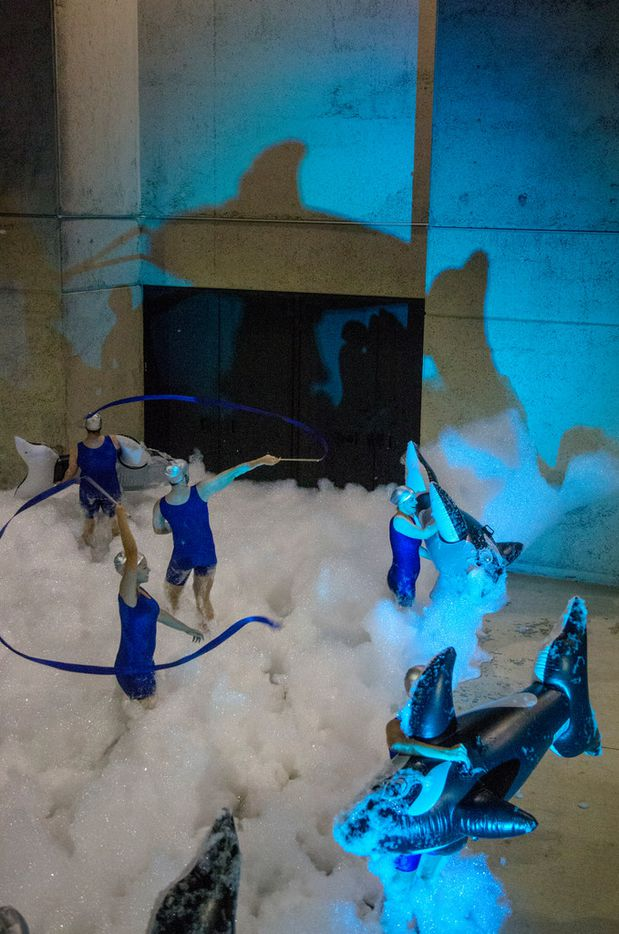 """A performance featuring inflatable whales and foam during """"Dances with Whales"""" choreographed by Danielle Georgiou during Aurora in Dallas on Nov. 3, 2018. The free art exhibition focuses on on light, video and sound art."""