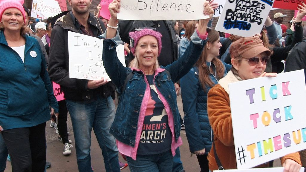 Wendy Welch, at a #MeToo rally, as seen in the film, Shatter the Silence.
