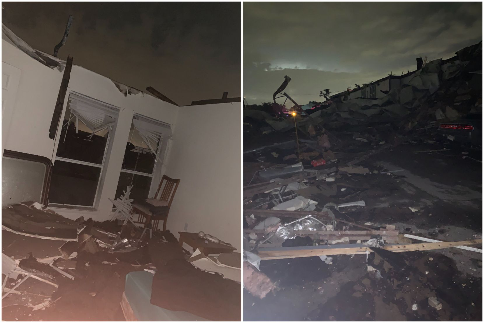 Rebecca Cruz, 20, took these photos after a tornado tore through her northwest Dallas apartment Sunday night. On the left is her spare bedroom, which had its roof torn off in the storm. On the right was her view standing outside her apartment.
