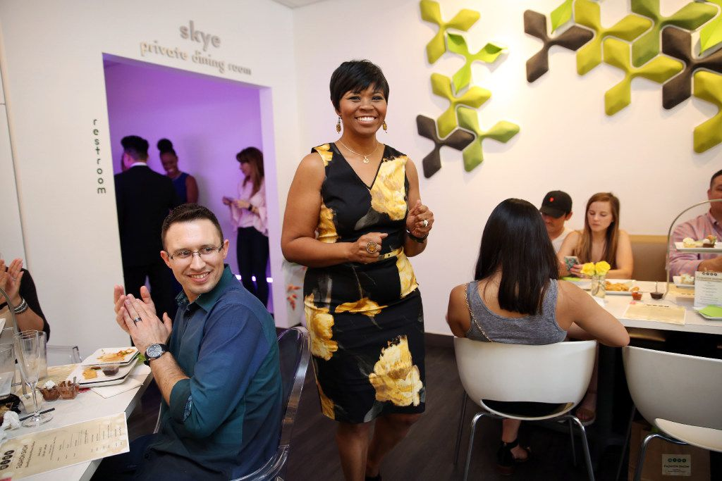Tonya Gray models at a fashion show event benefiting Genesis Women's Shelter at Asian Mint in Dallas, Texas, Sunday, June 4, 2017. (Allison Slomowitz/ Special Contributor) ORG XMIT: 28864D