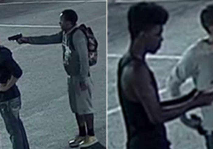 Dos hombres se le acercaron a las víctimas como a las 3:30 a.m. de un cajero de Bank of America, ubicado en el el 2500 de la cuadra de North Haskell Avenue. Foto cortesía de DALLAS POLICE DEPARTMENT.