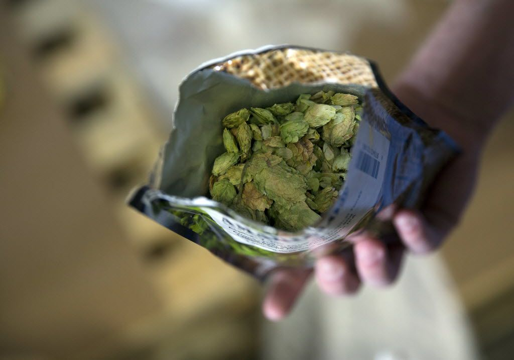 A bag of American dynamic hops at Three Nations Brewing