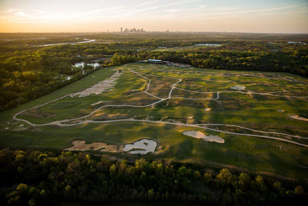 Late evening sunlight falls over the still under construction Trinity Forest Golf Club on Thursday, March 23, 2017, in Dallas, TX. (Smiley N. Pool/The Dallas Morning News)