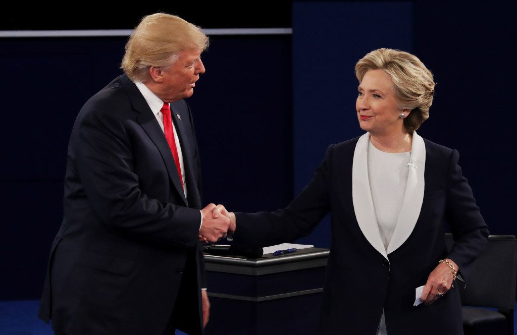 It wasn't until the end, but Donald Trump and Hillary Clinton finally shook hands at Sunday night's debate.