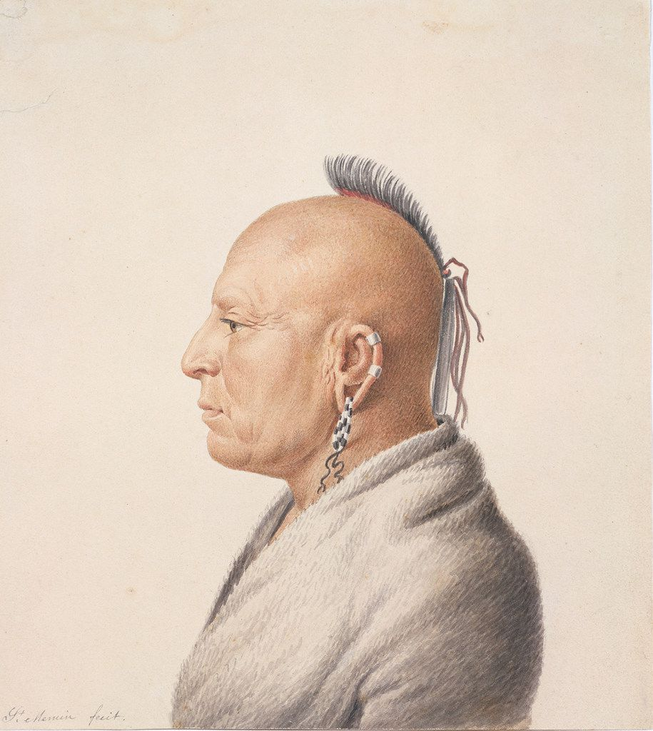 "The watercolor ""Osage Warrior"" is part of the accompanying exhibit, ""Artistic Encounters with Indigenous America,"" which runs through May 13 and explores how American Indians were viewed by non-Native artists and photographers."