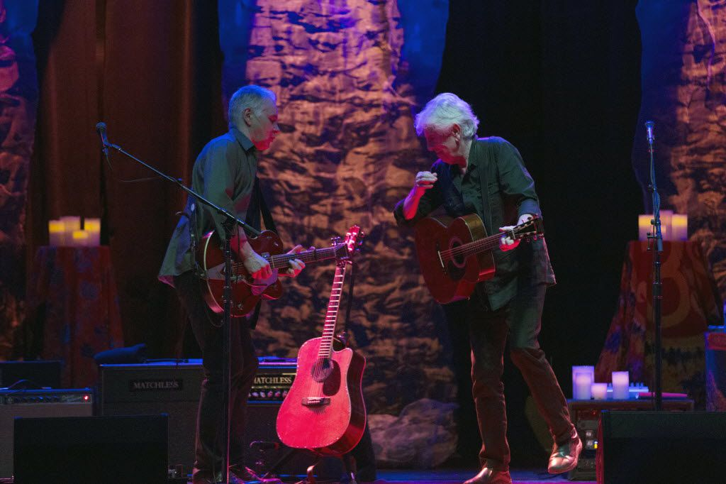 Shane Fontayne (CQ), left, performs with Graham Nash, right, at Granada Theater in Dallas, Texas, Saturday, May 7, 2016.